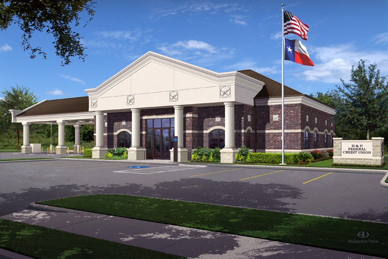 Design Build Projects: H&H Federal Credit Union Exterior Rendering